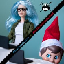 A Holiday Tale of Two Teams: The Blue Team Barbie & Red Team Elf on the Shelf saga