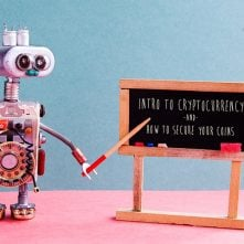 Bitcoin cryptocurrency digital money concept. Robot professor explains electronic mining cash financial system. Classroom interior with handwritten quote chalkboard. Green pink colorful background